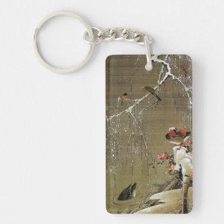 3. 雪中鴛鴦図, 若冲 Mandarin Duck in The Snow, Jakuchū Double-Sided Rectangular Acrylic Keychain