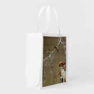 3. 雪中鴛鴦図, 若冲 Mandarin Duck in The Snow, Jakuchū Grocery Bag