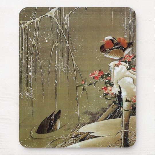 3. 雪中鴛鴦図, 若冲 Mandarin Duck in The Snow, Jakuchū Mouse Pad