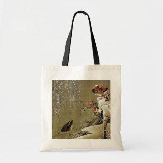3. 雪中鴛鴦図, pato de mandarín del 若冲 en la nieve, bolsa tela barata