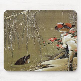 3. 雪中鴛鴦図, pato de mandarín del 若冲 en la nieve, Jak Alfombrilla De Ratón
