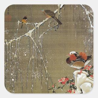 3. 雪中鴛鴦図, pato de mandarín del 若冲 en la nieve, pegatina cuadrada