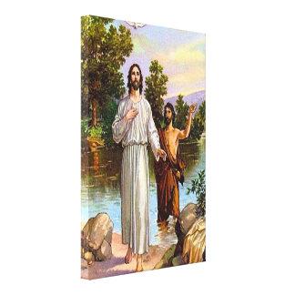 3:13 de Matthew - 17 Jesús es lona bautizada Lona Envuelta Para Galerías