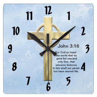 3:16 de Juan (azul) Reloj Cuadrado