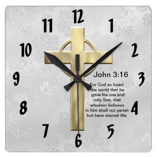 3:16 de Juan (blanco) Reloj Cuadrado