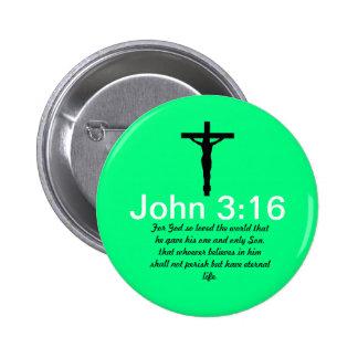 3 16 de Juan con el botón del verde de la escritur Pin