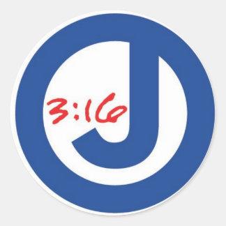 3:16 de Juan (logotipo único) Etiqueta Redonda
