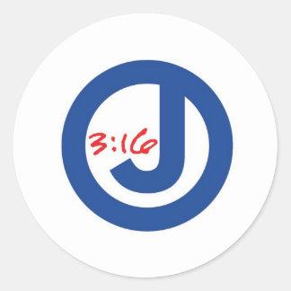 3:16 de Juan (logotipo único) Pegatina Redonda