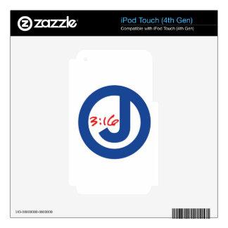 3:16 de Juan (logotipo único) iPod Touch 4G Calcomanías