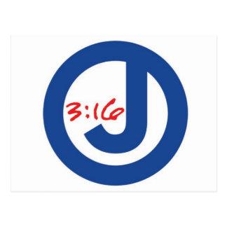 3:16 de Juan (logotipo único) Tarjeta Postal