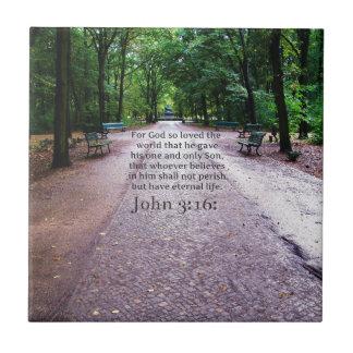 3:16 de Juan: NATURALEZA bíblica inspirada de la c Azulejo Cuadrado Pequeño