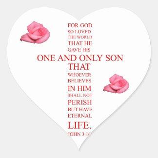 3:16 de Juan - para dios amó tan el mundo Pegatina En Forma De Corazón