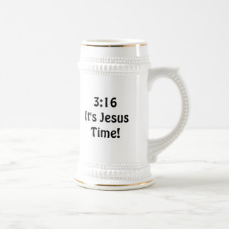 3:16 Its Jesus Time 18 Oz Beer Stein