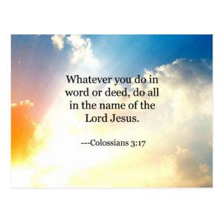 3:17 de Colossian, escritura cristiana de la Postal
