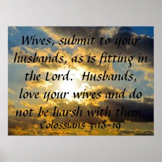 3:18 de Colossians del recordatorio de la boda del Póster