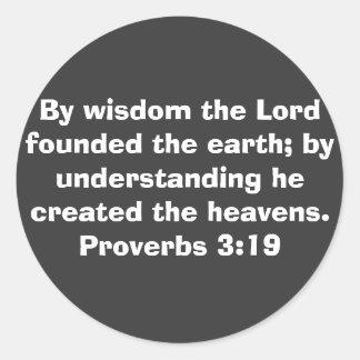 3:19 de los proverbios etiquetas redondas