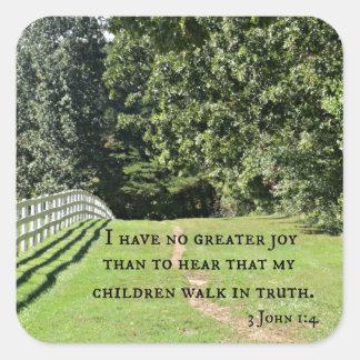 3 1:4 de Juan no tengo ninguna mayor alegría que Pegatina Cuadrada