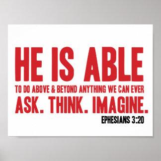 3:20 de Ephesians del poster de la biblia él puede Póster