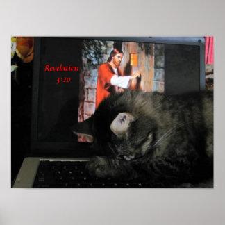 3:20 de la revelación con el gato de rogación póster