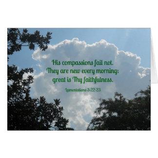 3:22 de las lamentaciones - 23 que sus compasiones tarjeta de felicitación