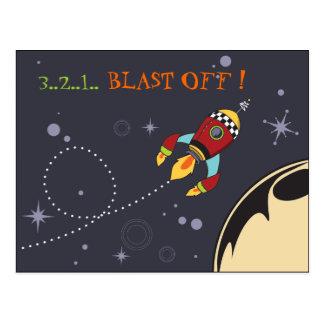 3,2,1 arruine apagado, postal del cohete retro