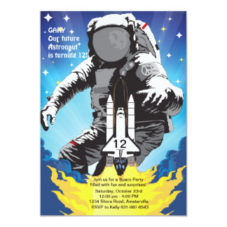 3-2-1 Takeoff Space Birthday Party Invitation