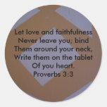 3:3 de los proverbios pegatina redonda