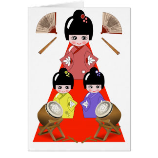 3-3  Hinamatsuri, Girls Day Japanese Doll Festival Card