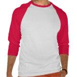 3/4 blanco básico para hombre/rojo de la plantilla camiseta