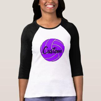 3/4 camisa púrpura del voleibol de la manga de las