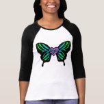 3/4 camiseta azul de la mariposa de la cebra del P