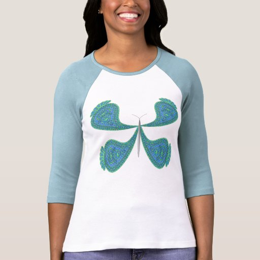 3/4 mariposa de Paisley de la manga Camiseta