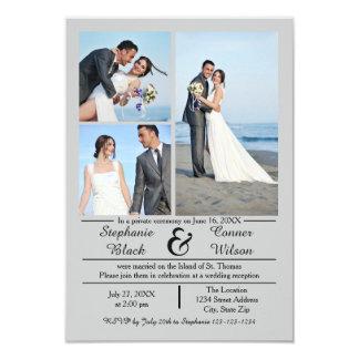 3/4 Photos Vertical Gray- 3x5 Wedding Announcement