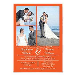 3/4 Photos Vertical Orange - Wedding Announcement