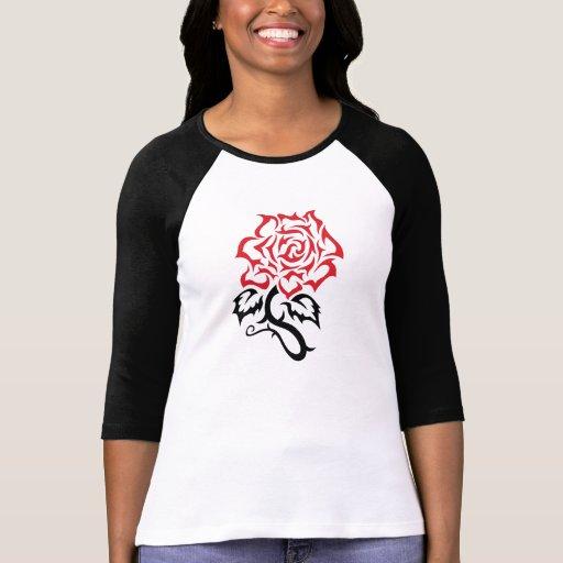 3/4 raglán color de rosa tribal de la manga remeras