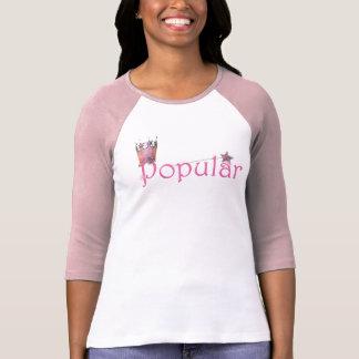"3/4 rosa para mujer ""popular"" de la camiseta playera"