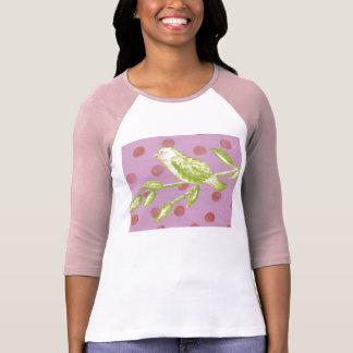 """3/4"""" T - Green Bird on Pink T-Shirt"""