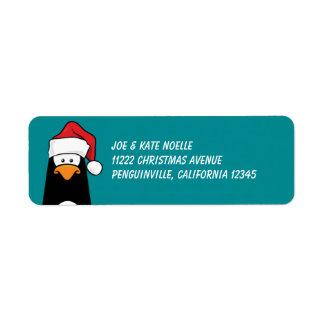 "3/4"" x 2 1/4"" pingüino del navidad etiqueta de remite"