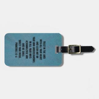 3:5 cristiano de los proverbios del verso de la etiqueta para equipaje