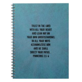 3:5 cristiano de los proverbios del verso de la spiral notebook