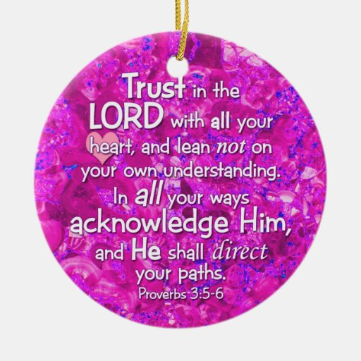 3:5 de los proverbios - confianza 6 en el señor adorno navideño redondo de cerámica