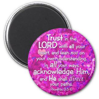 3:5 de los proverbios - confianza 6 en el señor imán redondo 5 cm