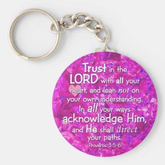 3:5 de los proverbios - confianza 6 en el señor llavero redondo tipo pin