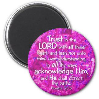 3:5 de los proverbios - confianza de 6 KJV en el s Imán Redondo 5 Cm