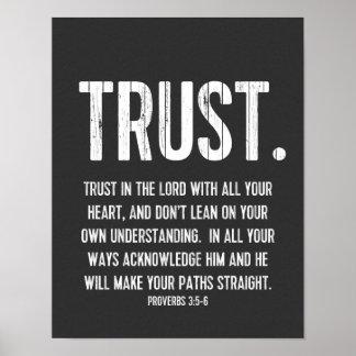 3:5 de los proverbios del verso de la biblia - 6, póster