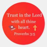 3:5 de los proverbios pegatinas redondas