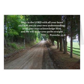 3:5 de los proverbios - poster del verso de la bib tarjeta de felicitación