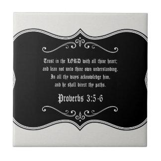 3:5 de los proverbios - regalo cristiano de azulejo cuadrado pequeño