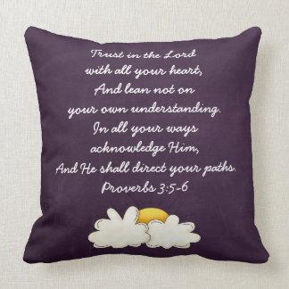 3:5 de los proverbios - regalo cristiano de cojín