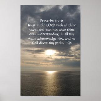 3:5 de los proverbios - texto del blanco de 6 póster